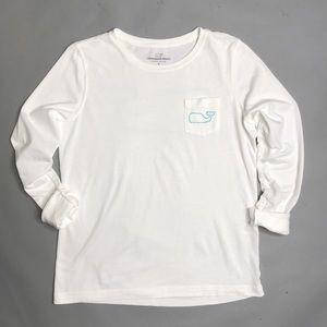Vineyard Vines White Long Sleeve Whale Logo Tee